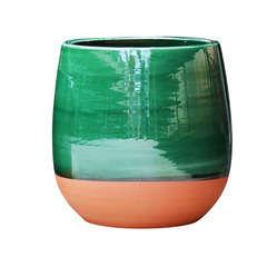 Pot Saintropp en terre cuite émaillée, coloris jade D23 cm