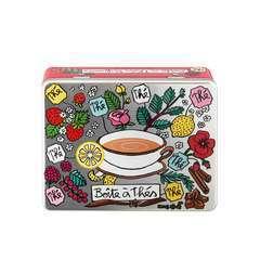 Boite à thé compartimentée 'Parfumés',métal L.20,5x14,5xH.7 cm