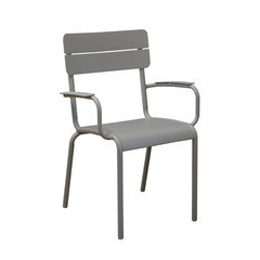 Fauteuil alu ECOLE empilable taupe X2