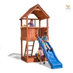 Air de jeux FUNGO JOY toboggan, bac à sable L 375.0 l 195.0 H 305.0 cm