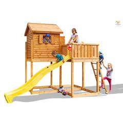 Air de jeux FUNGO MYSIDE maisonnette, toboggan L390xl253xH305cm