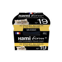 Pâtée Cuisinés pour chats n°19: poulet, au colin et au fromage - 80g