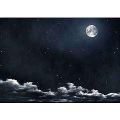 Décoration paysage: Papier ciel avec lune cm100x70