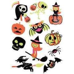 Stickers fluorescents (x11) - Halloween (4 à 7 cm)