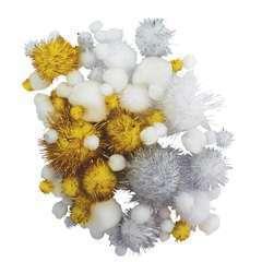 Pompons glitter (x100), argent/blanc 0,8 à 4,5 cm