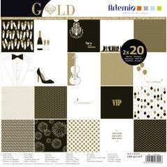 Set papier Artemio Gold: 40 feuilles, 30,5x30,5cm