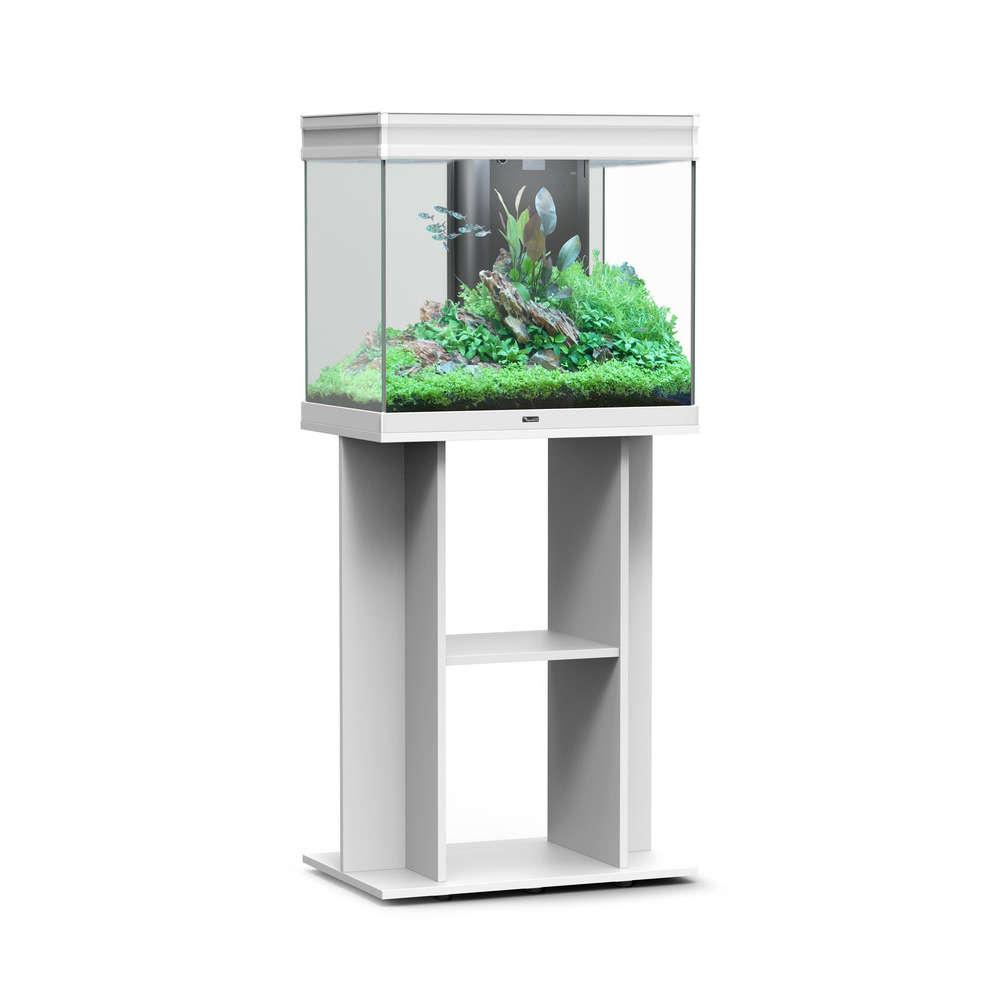 Aquarium Avec Meuble Eau Douce Elegance Expert Bois Blanc 105 Litres Truffaut