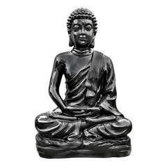 Bouddha Kadampa en pierre reconstituée, ton ciré noir H96cm