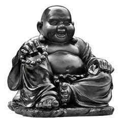 Bouddha Chinois rieur en pierre reconstituée, ton ciré noir H35cm
