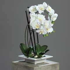 Orchidee artificielle 3 hampes en coupe ceramique H 50 cm toucher reel