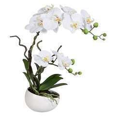 Orchidee artificielle 2 hampes en coupe ceramique H 45 cm toucher reel