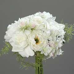 Bouquet de Roses et Hortensias artificielles 9 tetes Diametre 20 cm Cr