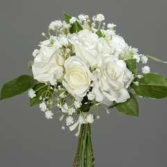 Bouquet de Roses et Gypsophile artificielles 7 tetes Hauteur 24 cm Crè
