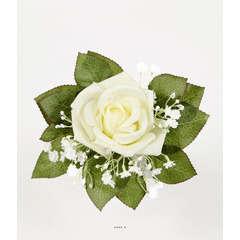 Rose artificielle en mini bouquet avec Gypsophile H 22 cm D 13 cm Supe