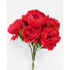 Bouquet de Pivoines artificielles 7 tetes Hauteur 55 cm Rouge