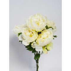 Bouquet de Pivoines artificielles 7 tetes Hauteur 55 cm Crème