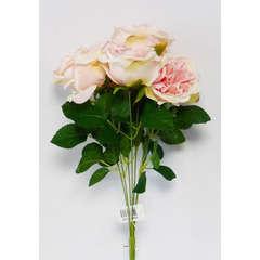 Bouquet de 7 Roses artificielles en piquet et feuillage Hauteur 42 cm