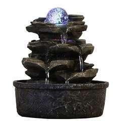 Fontaine d'Intérieur Déco Nature Little Rock avec Eclairage Led