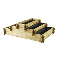 Carré potager en escalier 3 étages, en bois - L.120 x l.80 x H.40 cm
