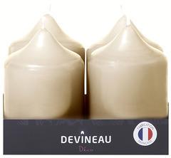 Barquette de 4 bougies coloris ivoire sous film