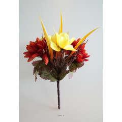 Bouquet automnal 5 ramures Hauteur 17 cm Diametre 12 cm Top Orange