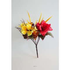 Bouquet automnal 5 ramures Hauteur 17 cm Diametre 12 cm Top Rouge