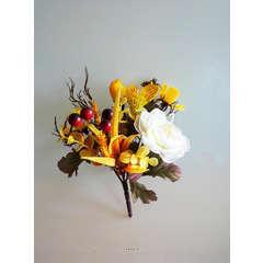 Bouquet automnal 5 ramures Hauteur 17 cm Diametre 12 cm Top Crème