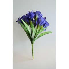 Bouquet d'Iris artificiels 7 fleurs et 7 feuilles hauteur 28 cm