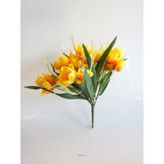 Bouquet de Crocus artificiels 31 fleurs tissu Hauteur 22 cm Top Jaune