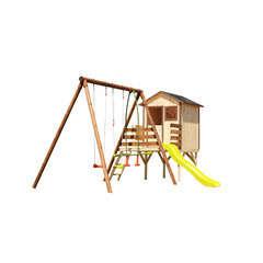 Aire de jeux MELIA en Pin Maisonnette, toboggan, balançoires 235cm
