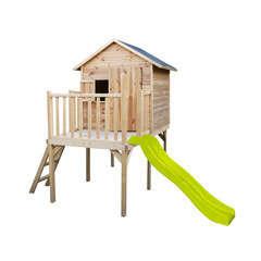 Maisonnette toboggan pour enfant en bois IGOR L 155 x l 115 x 34,5 cm