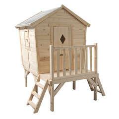 Maisonnette pour enfant en bois PAULINE PILOTIS L178 x P179 x H205 cm