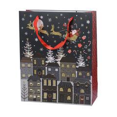 Sac cadeau papier avec ruban rouge village Noël 10x26x32cm - 2 modèles