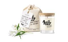 Bougie parfumée BIO jasmin dans verre recyclé 200g, avec son sac