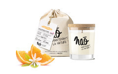 Bougie parfumée BIO orange dans verre recyclé 200g, avec son sac