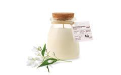 Bougie parfumée BIO jasmin sérigraphie NAO pot de yaourt en verre 120g