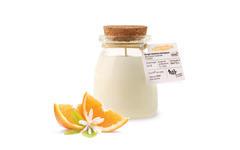 Bougie parfumée BIO orange sérigraphie NAO pot de yaourt en verre 120g