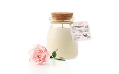 Bougie parfumée BIO rose sérigraphie NAO pot de yaourt en verre 120 gr