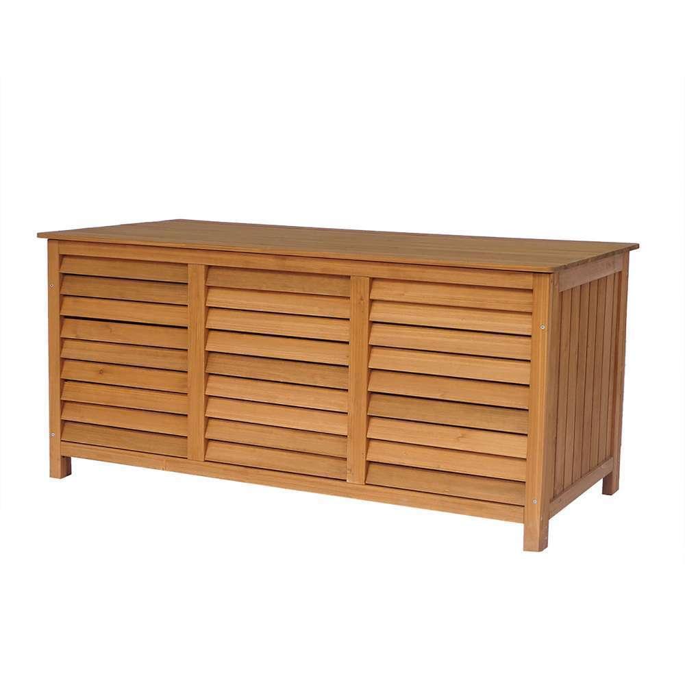 Coffre de jardin en bois 'Macao' 130 x 64 x 60 cm Marron
