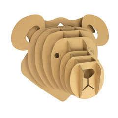 Trophée ours carton à assembler 32 x 28 x 18 cm