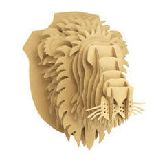 Trophée lion carton à assembler 25 x 32 x 24 cm