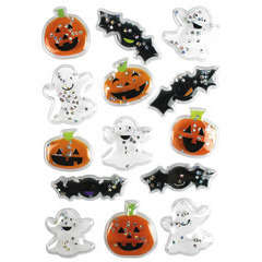 Sticker 3D halloween pailleté 2,6 à 4,8cmx14 pièces