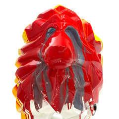 Lion en polyrésine multicouleur, 105x39x71 cm