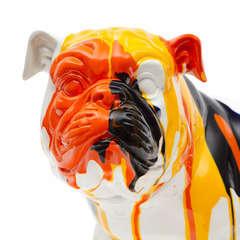 Bulldog en polyrésine tricolore, 40x23x34 cm