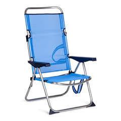 Chaise de détente Plage 4 Positions Bleu.