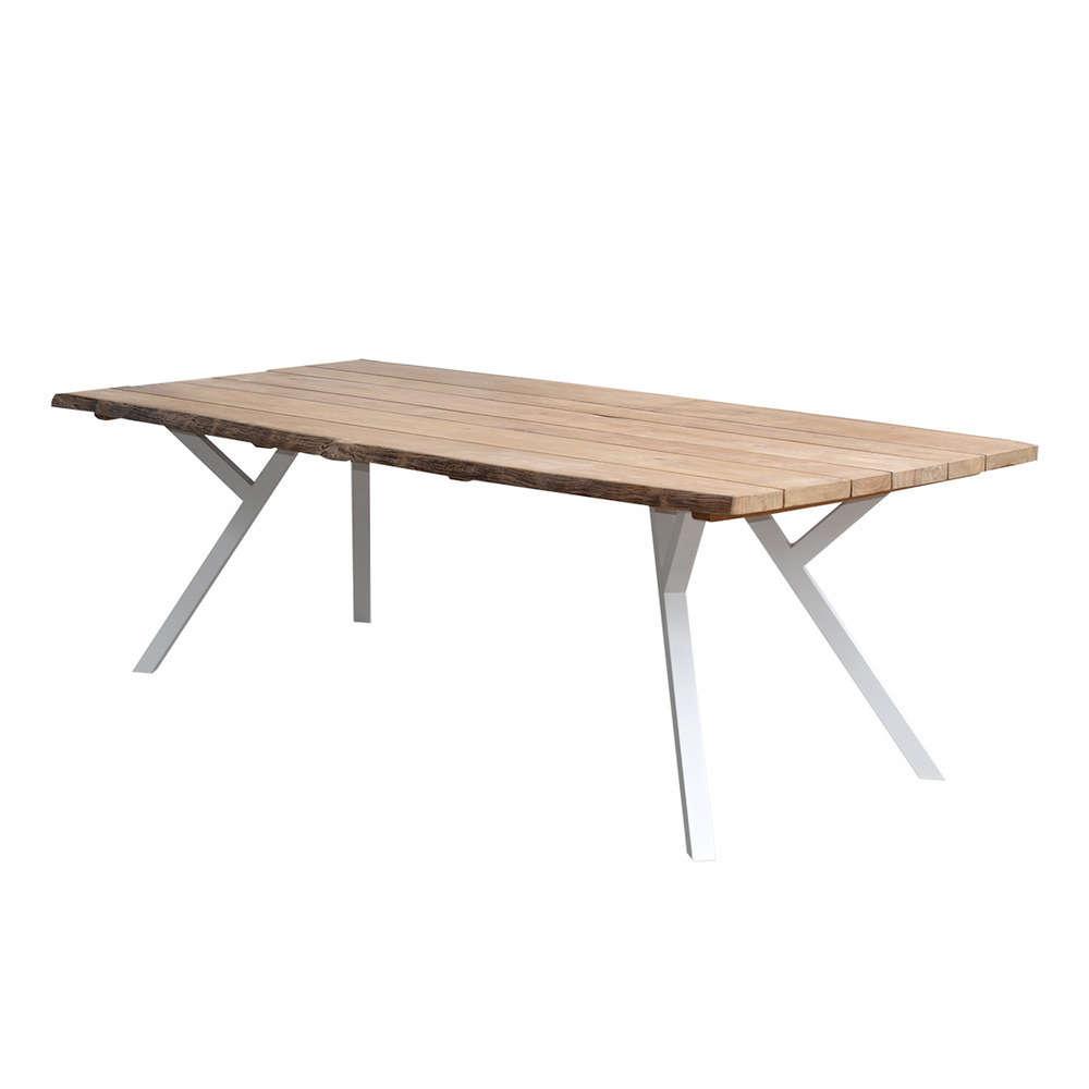 Table en teck et alu blanc 250 cm Equinoxe