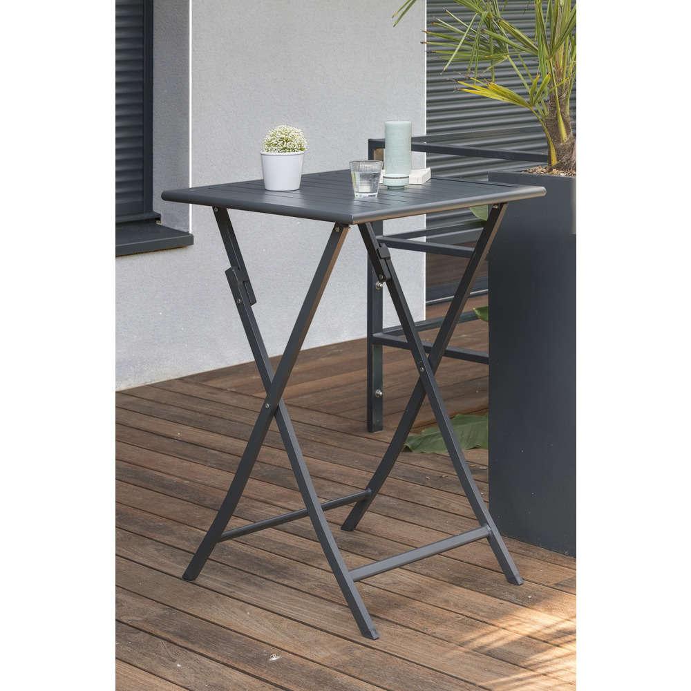 Table Haute Bar Pliante Marius 70x70cm En Aluminium Gris