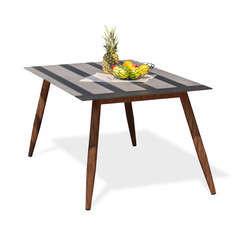 Table de jardin SCANDI 160x90cm en spraystone et aluminium - MARRON