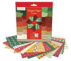 Papier Origami Christmas, 20x20cm, 60 feuilles, 70g et stickers