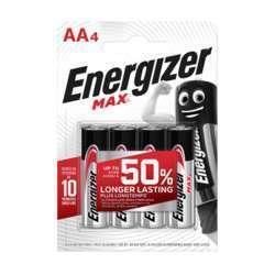 Piles Alcalines Energizer Max AA/LR6, pack de 4